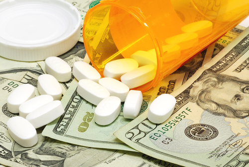 healthcare image: pills and money